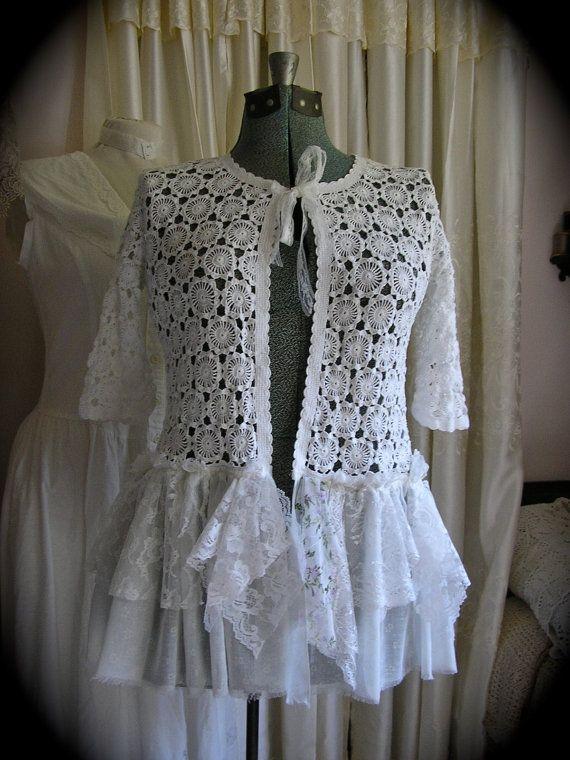 White Crochet Sweater, romantic shabby tattered, chiffon layered ruffled lace, refashioned clothing MEDIUM