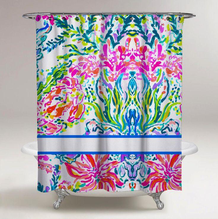 Rideau de douche design personnalisé coloré corail sur   – shower curtain