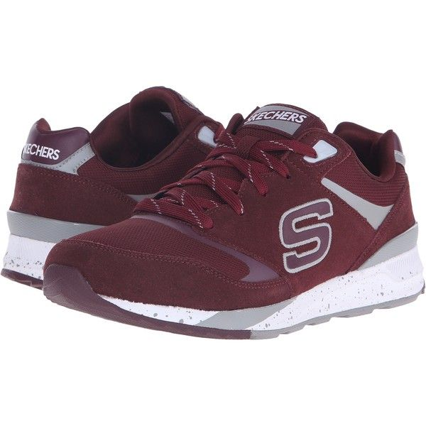 SKECHERS OG 90 (Burgundy) Men's  Shoes ($40) ❤ liked on Polyvore featuring men's fashion, men's shoes, men's sneakers, burgundy, mens shoes, skechers mens shoes, burgundy mens shoes, mens lightweight running shoes and mens sneakers