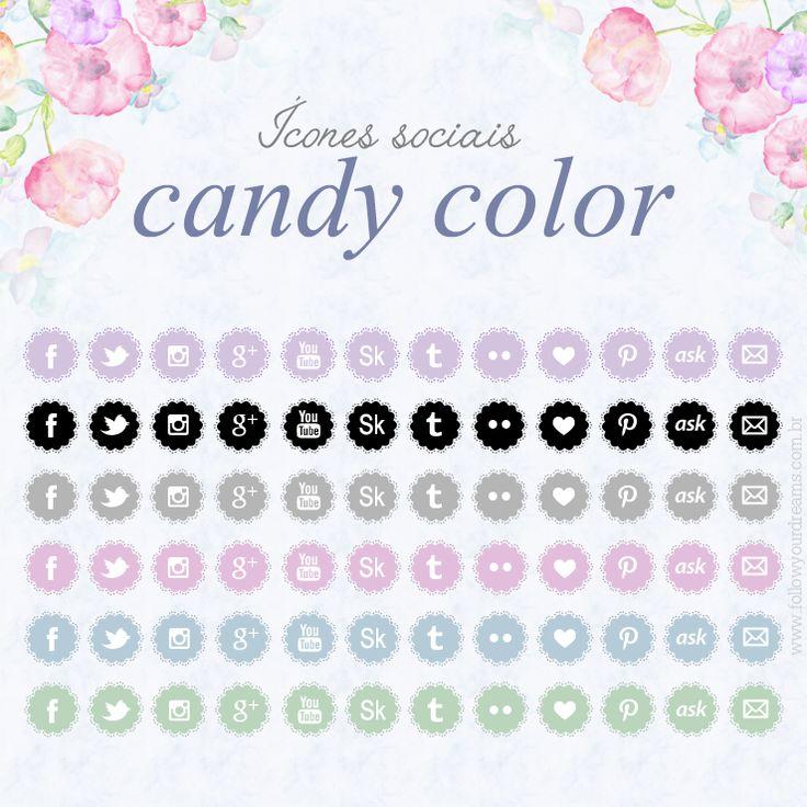 Download Ícones Sociais Candy Color #iconessociais #socialmedia #download #free #gratis #gratuito #freebie