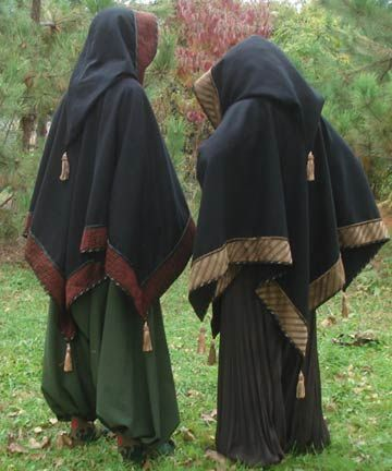 The traditional tasseled cloaks with pointed hoods and pantaloons of Scandinavian wizards.