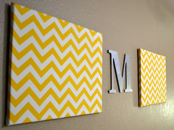 Chevron+Monogram+Canvas+Wall+Art+Upholstered+by+GoldenPaisley,+$55.00