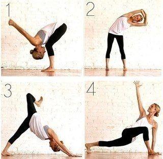 Это поможет привести мышцы в тонус (прорисовать их) и станет специфической нагрузкой, на которую организм отреагирует резким изменением формы.   Итак, самостоятельная разминка( 1-3 мин)  Каждую позу принимаем как на рисунке на 30 сек, поменять ногу и руки (тоже в другую сторонну). Выпоняем по 5 раз каждое упражнение.   Дышать медленно и глубоко, амплитуда движения максимальная, ЧУВСТВУЙТЕ СВОЕ ТЕЛО и держите равновесие уверенно и сосредоточенно.