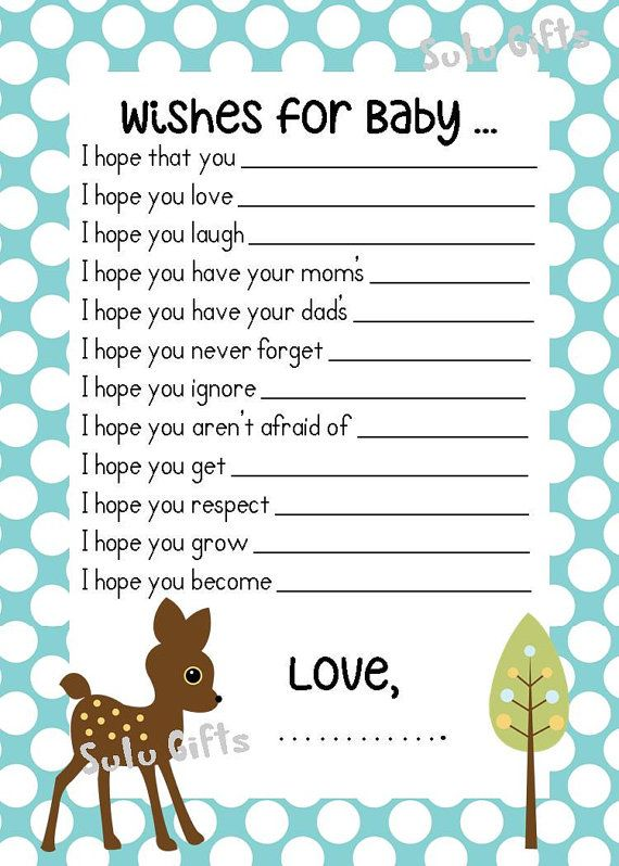 SALE Baby Boy Baby Shower Game Wishes for Baby Advice Cards ! Instant Download Printable PDF ~ Baby Deer, Blue Polka Dot Design