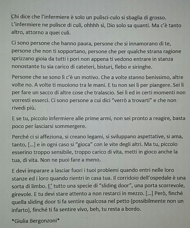 Giulia Bergonzoni #italian #quotes about #nursing #hospital #life #frasi #infermieri #ospedale #persone #vita #amore #humor #sliding #doors