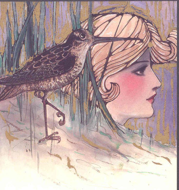 SCHMUCKER....ART NOUVEAU LADY & SNIPE BIRD,LTD ED POSTCARD FROM ORIGINAL ART