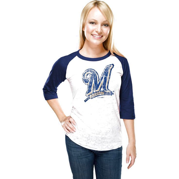 Milwaukee Brewers Women's Burnout 3/4-Sleeve White/Navy Blue Raglan T-Shirt - $21.84