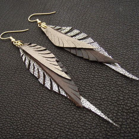 Metallic Leather Feather Earrings in brown, silver and gold on Etsy, $42.00