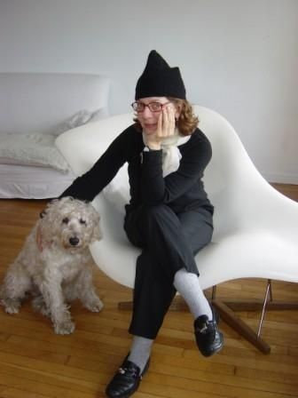 Maira Kalman with pet
