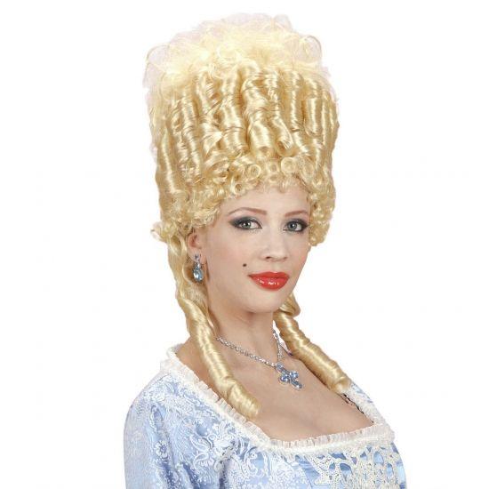 Luxe middeleeuwse pruik voor dames  Luxe hofdame pruik. Zeer luxe blonde hofdame pruik hoog model met twee pijpenkrullen. Deze prachtige pruik zal uw middeleeuwse kostuum helemaal afmaken!  EUR 38.95  Meer informatie