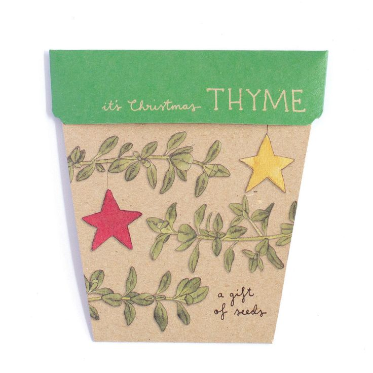 It's Christmas thyme! Wish your friends and loved ones merry Christmas with a gift that grows.  Thyme is an easy to grow herb that is happy in gardens, pots or on kitchen windowsills. A sweet and thoughtful Christmas gift, this Gift of Seeds is perfect for Kris Kringle presents, stocking fillers or to send to family and loved ones in far away places.  Features: - 100% recycled paper - Includes an illustrative, non toxic and 100% recyclable plastic plant label to mark where your seeds are…