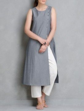 Grey Pin Stripe Cotton Kurta with Front Slit