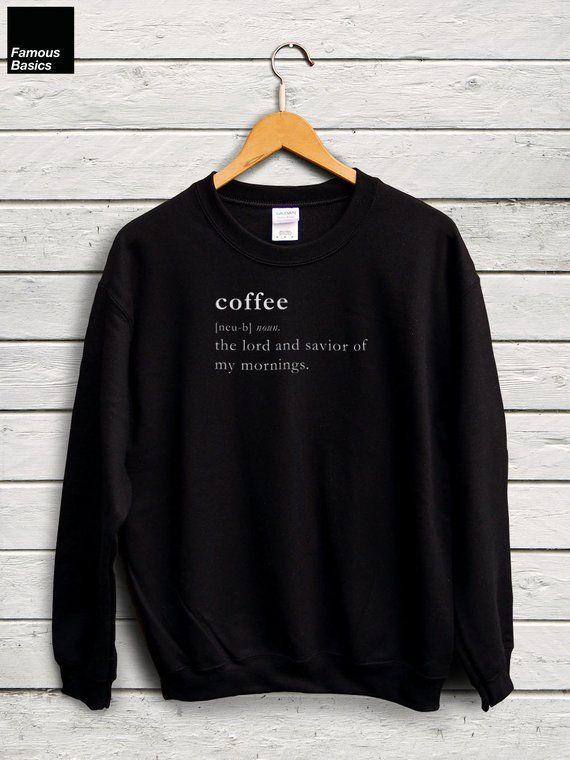 Ok But First Coffee Sweatshirt Jumper I Love Coffee Sweater Unisex Adults Tee