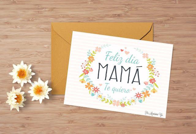Tarjeta lista para descargar e imprimir. Freebie para felicitar el Día de la madre. Feliz día mamá Te quiero ♥