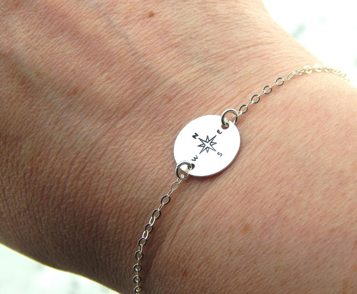Silver Compass Bracelet,Hand Stamped Compass Bracelet,Graduation Gift,Sterling Silver by Kikiburrabeads on Etsy
