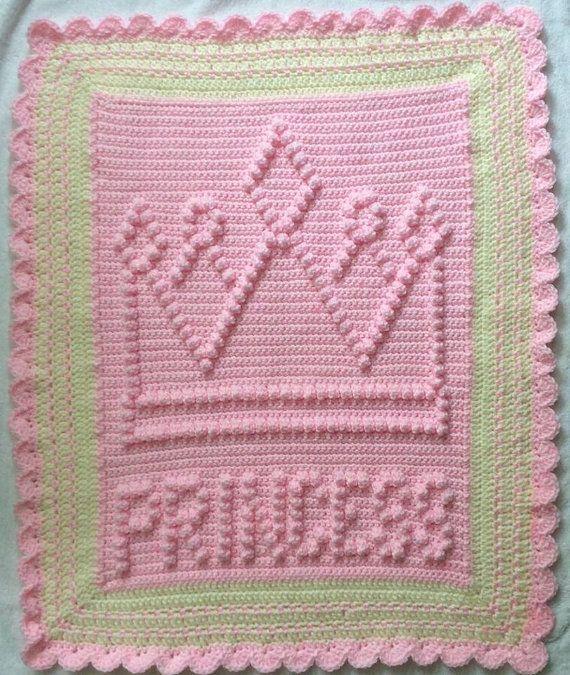 Snuggle Princess Crown Baby Blanket Pattern - bambino sicurezza coperta all'uncinetto - Baby Blanket - seggiolino auto o passeggino coperta di TheBabyCrow