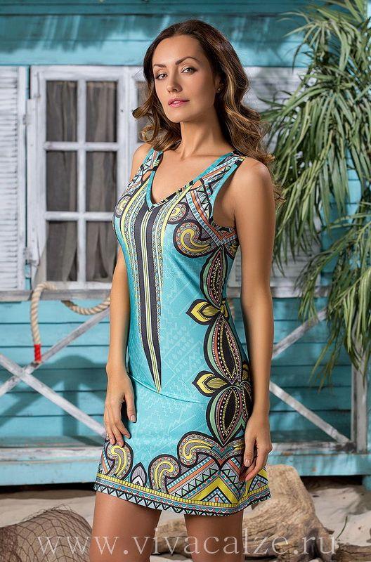 19071 Пляжное платье Коллекция JASMINE. Эффектное короткое пляжное платье-майка Миа-Миа из эластичного трикотажа с оригинальным принтом.