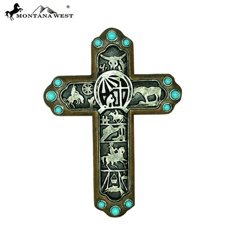 New Montana West Turquoise Stones Cowboy Prayer Wall Hanging Cross Resin 15""