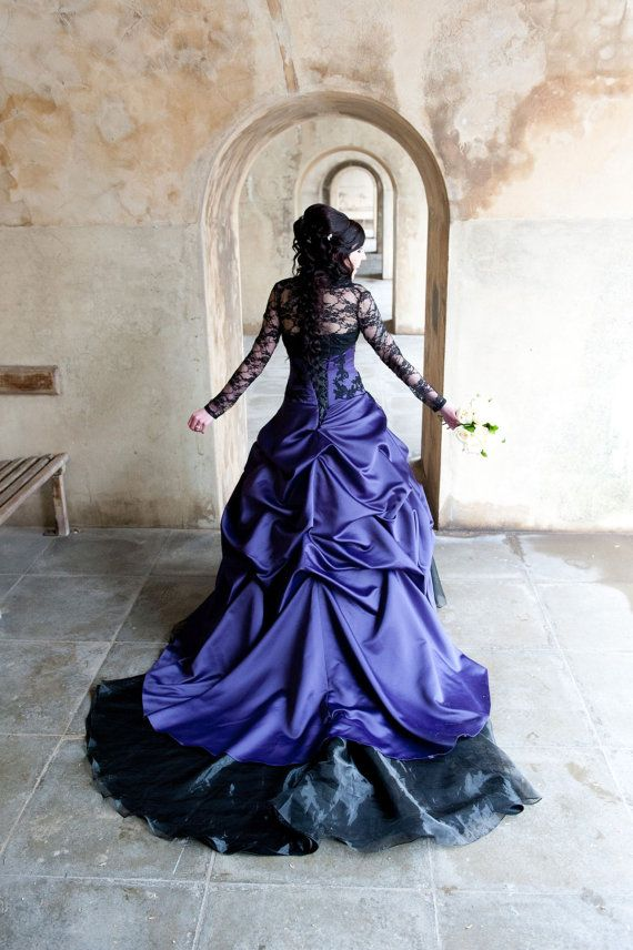 Purple Gothic Wedding Dress by WeddingDressFantasy on Etsy