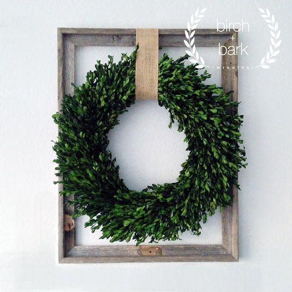 Home Decor - Preserved Boxwood Wreath - Wood Frame Wreath - Indoor Wreath - Wall Decor - Preserved Boxwood with Wood Frame Decor 22in x 28in