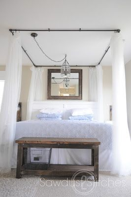 How to make a canopy bed that looks great but costs little!  Guest post from sawdust2stitches on TakeitFromMe!