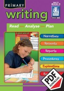 Primary writing is a series of seven blackline masters designed to provide opportunities for students to read, examine and write a variety of text types including narratives, recounts, procedures, reports, explanations and expositions. Ebook PDF including teacher resources, notes and worksheets