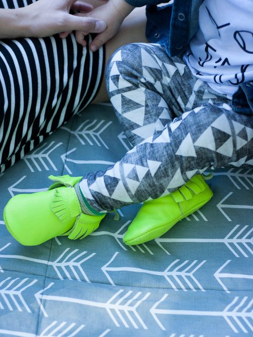Fall 2014 Collection: Tribal Leggings for your baby or toddler from www.brikhouse.com with Lime Green Freshly Picked moccasins. Pic by Life Could Be A Dream Blog.