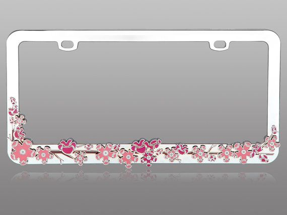 sparkly car license plate frame bling 3d pink cherry blossom tree chrome coating metal crystal cute