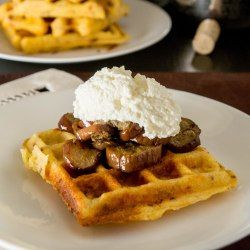 Serve these cornmeal and sundried tomato waffles with easy marinated eggplant and ricotta cheese, for a Mediterranean flavoured dinner.