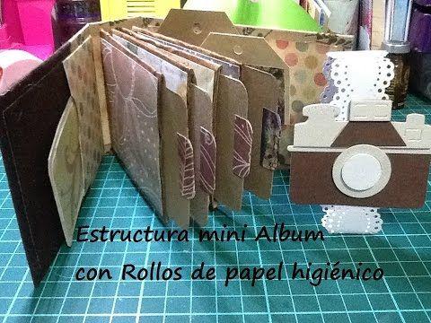Estructura de mini album espina con rollos de papel higiénico DIY - YouTube