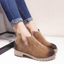 2015 ретро осень зима женщины ботильоны из натуральной кожи замшевые сапоги мягкие туфли на каблуках женщина свободного покроя размер 35 - 40(China (Mainland))