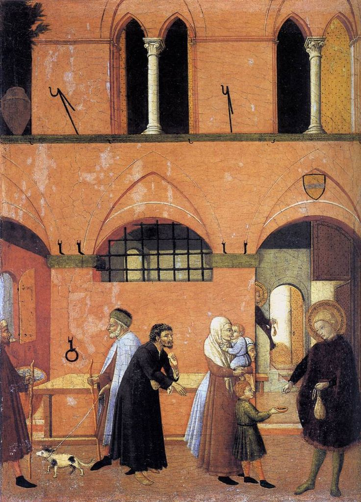 MASTER of the Osservanza St Anthony Distributing his Wealth to the Poor c. 1440 Tempera and gold on wood, 47 x 35 cm National Gallery of Art, Washington