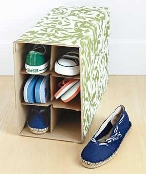 Recycle a wine box as shoe storage.