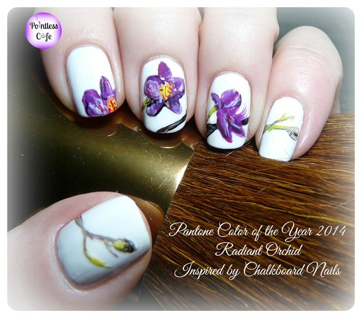 Nail Art Theme Week Day 3: Pantone Color of the Year 2014 Radiant Orchid Mani Inspired by Chalkboard Nails | Pointless Cafe