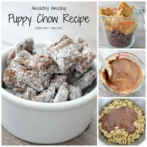 The best puppy chow in the universe. Clumps of chocolate peanut butter goodness held together by just enough powdered sugar. An easy treat with only 4 ingredients!