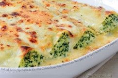 Baked Leek, Spinach and Ricotta Cannelloni Smothered in Bechamel and Sprinkled with Parmesan