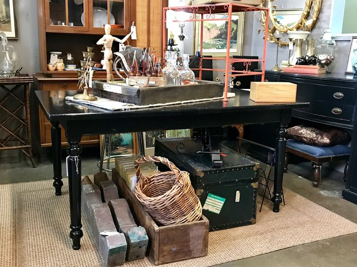 """Black Farm Table On Sale   With Two Leaves   61.5"""" Wide x 39.5"""" Deep x 30"""" High   Was $220 Sale Price $170  Vintage Affection Dealer #1680  White Elephant Antiques 1026 N. Riverfront Blvd. Dallas, TX 75207"""