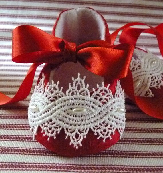 Silk Satin and Lace Red Baby Shoes by cottagecloset on Etsy, $30.00