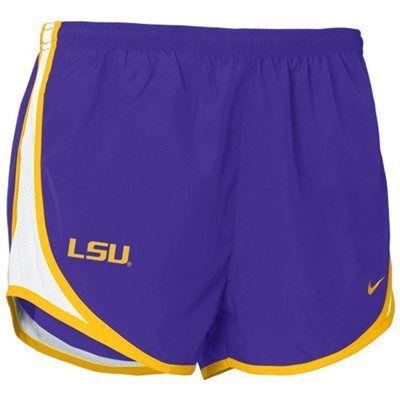 Nike LSU Tigers Women's Purple Plaid Tempo Performance Shorts