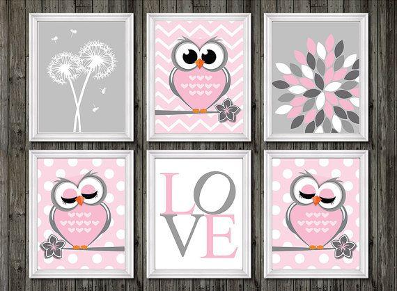 Owl nursery decor baby girls owl nursery wall by customedgestudio