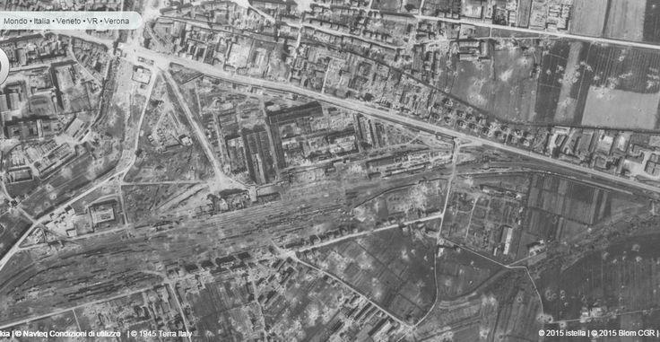 WWII - Verona 1945 - area stazione ferroviaria di Porta Vescovo, foto aerea - Le distruzioni delle città italiane durante la II guerra mondiale -