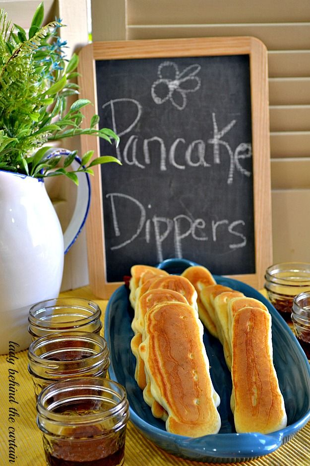 -Buffet Pancake Dippers ( cooked strip of BACON in the middle ) ... serve with warm syrup.