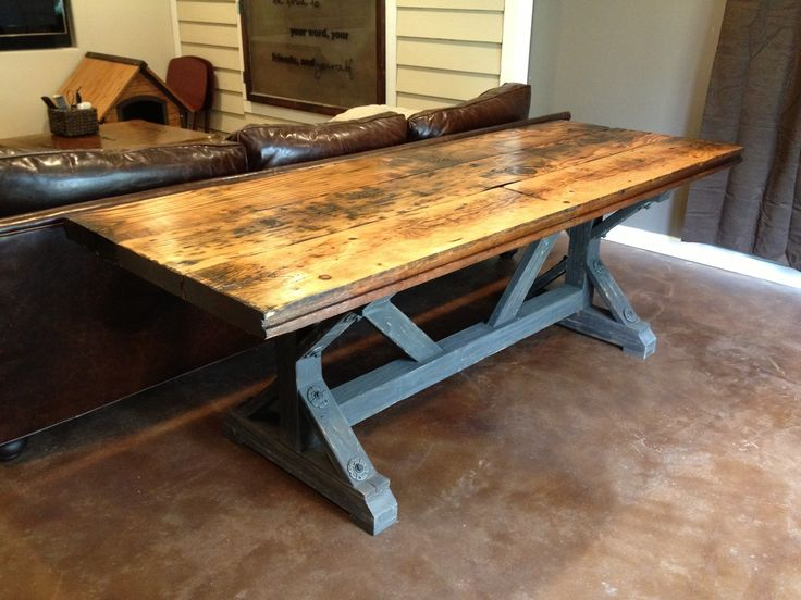 24 best tables images on pinterest farm tables for Farmhouse table plans with x legs