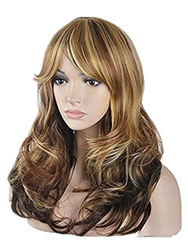 Sexy Big Wave Inclined Bang Wig Long Curly Hair Mixed Blonde Auburn Highlights Fluffy Air Volume With Free Wig Cap