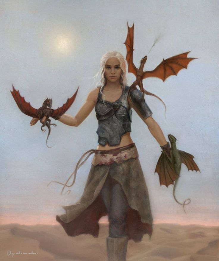 Daenerys Stormborn of the House Targaryen, the first of her name, Queen of the Andals, the Rhoynar and the First Men, Lady (?) of the Seven Kingdoms and Protector of the Realm, the Unburnt, Mother of Dragons, Breaker of Chains, Queen of Meereen, Khaleesi of the Great Grass Sea.