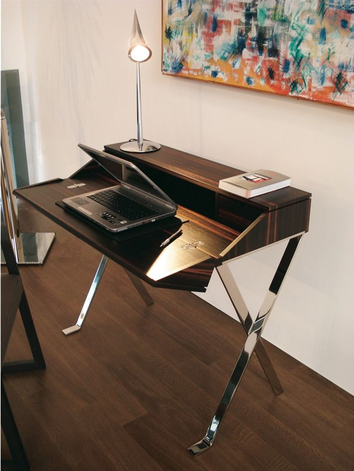 """Small study corner handicrafted in fine wood, with base in mirror-polished stainless steel. A modern, stylistic reinterpretation of the classic writing desk.   The Ribalta writing desk has been selected for display at the exibition """"Apulia Italian Excellence: The Art of Design from Tradition to Innovation"""" to be held in New York on May 16-19, 2009 at the International Contemporary Furniture Fair."""