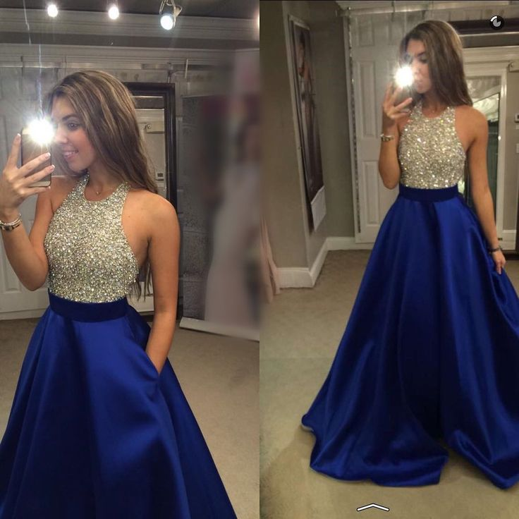 long satin royal blue hater prom dresses ball gowns 2017 new design