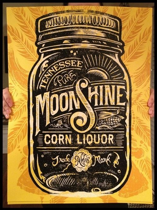 I like the use of late 18th century to early 19th century fonts to complement the advertisement for this moonshine.