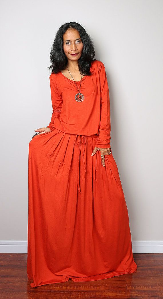 Orange Maxi Dress -  Long Sleeve dress : Autumn Thrills Collection No.1  (Best Seller)