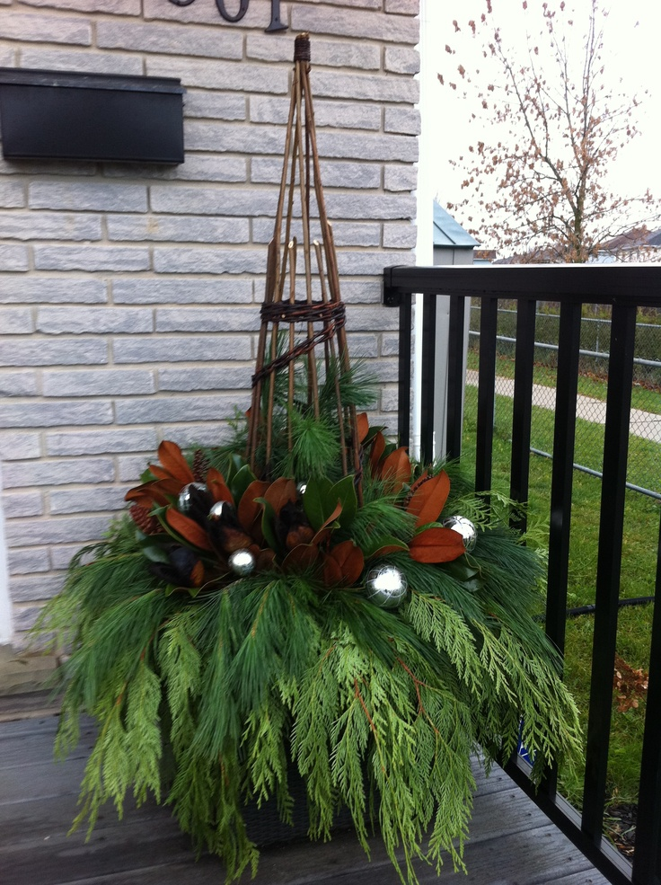Christmas Urn Decorations For Outdoors 91 Best Winter Porch Pots Images On Pinterest  Christmas Ideas